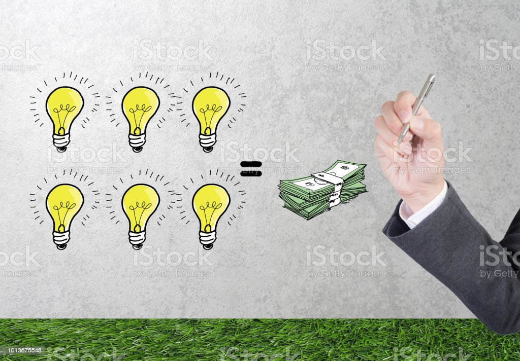 Business Man Drawing Business Strategy Plan In Light Bulb Sketch And