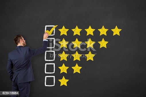 istock Business Man Drawing Customer Satisfaction on Blackboard Background 628418684
