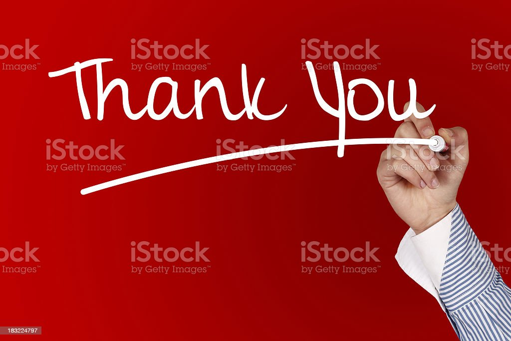 Business man drawing THANK YOU stock photo