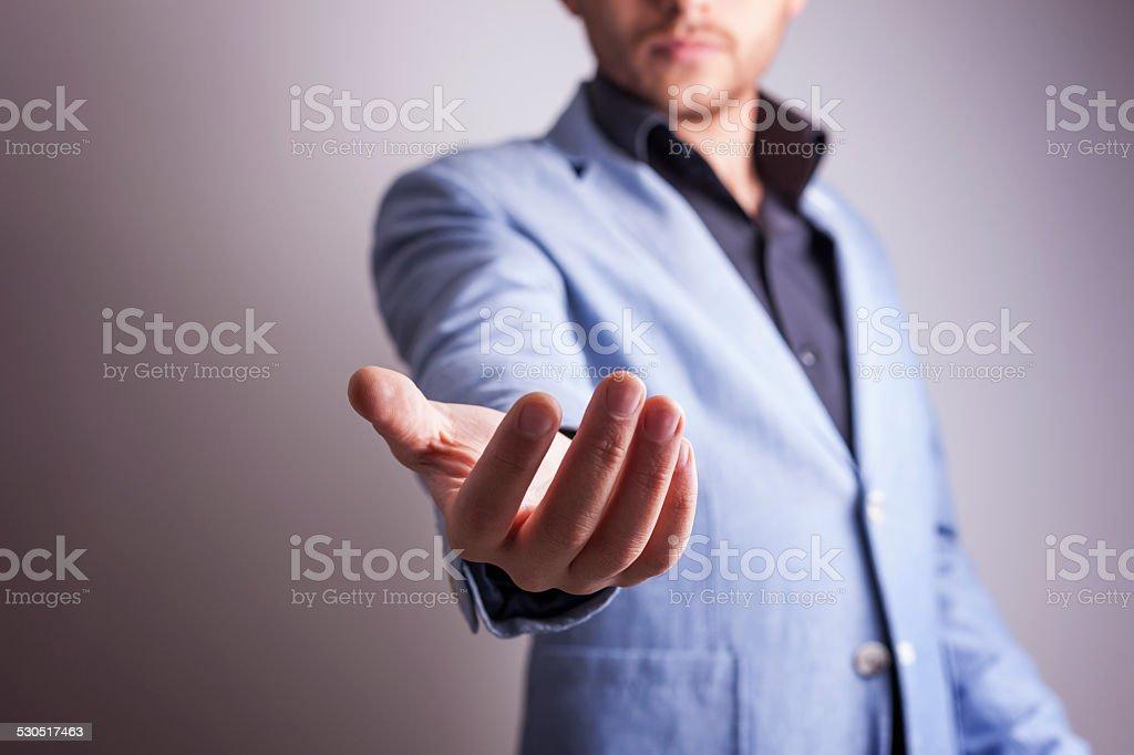 Business man empty hand stock photo