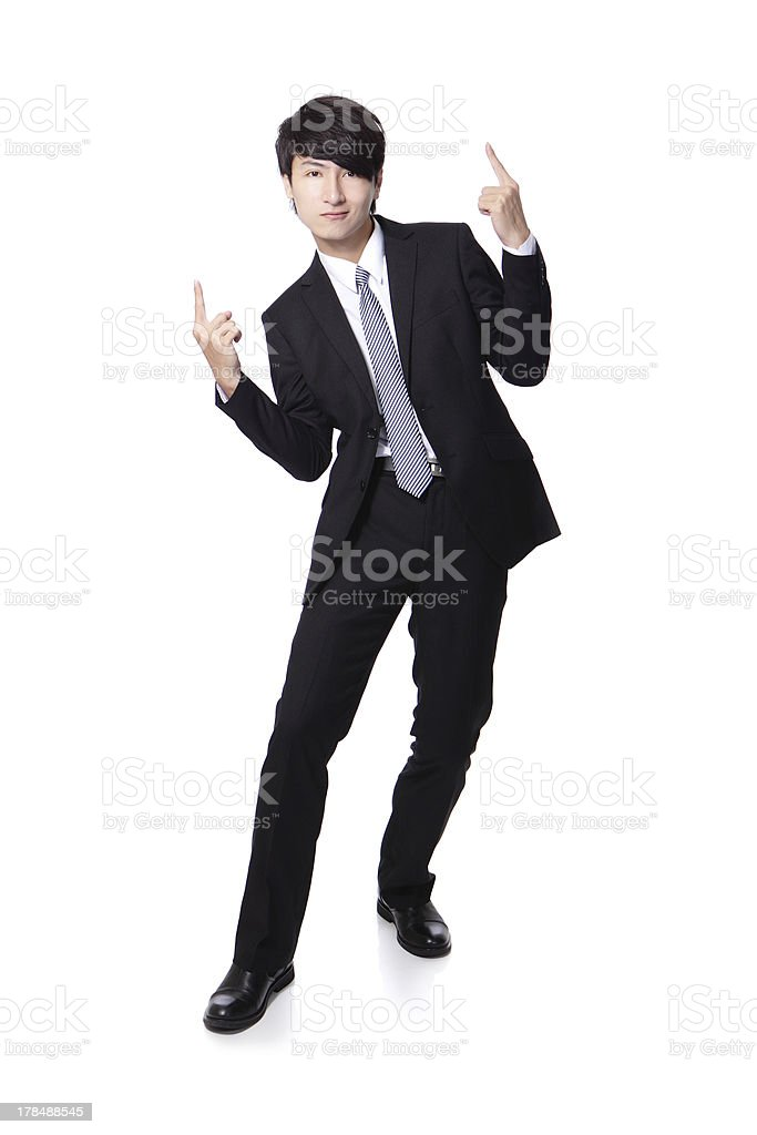 business man enjoying success and raise arms royalty-free stock photo