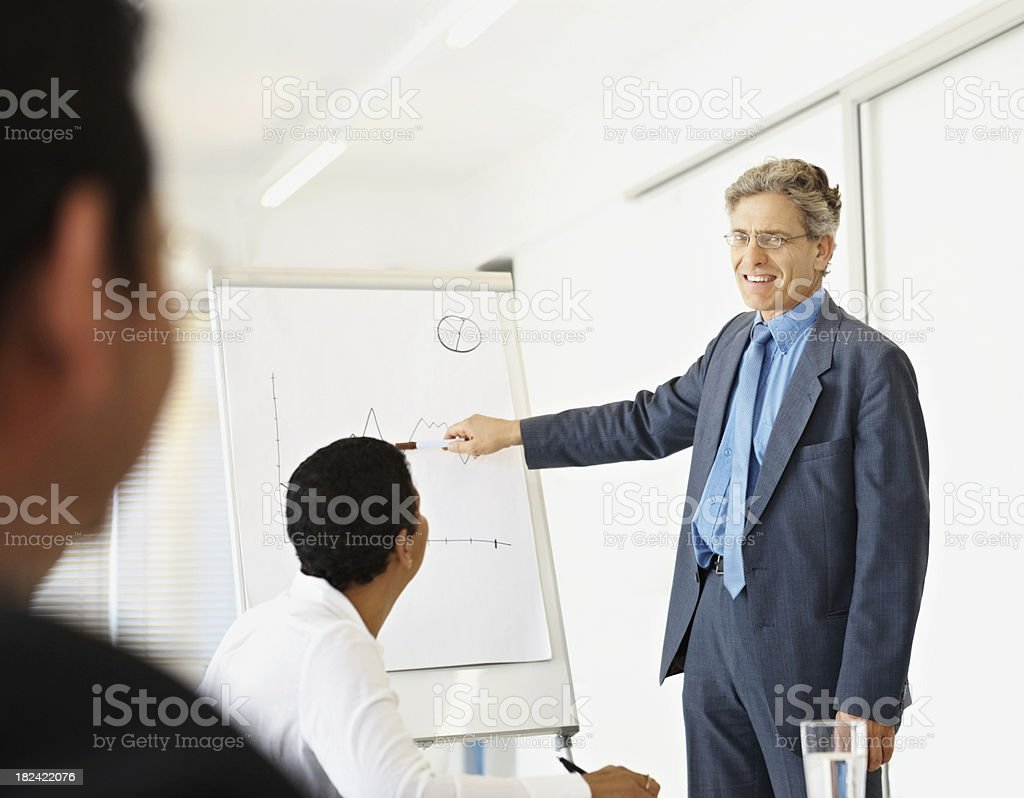 Business man explaining financial chart to colleagues royalty-free stock photo