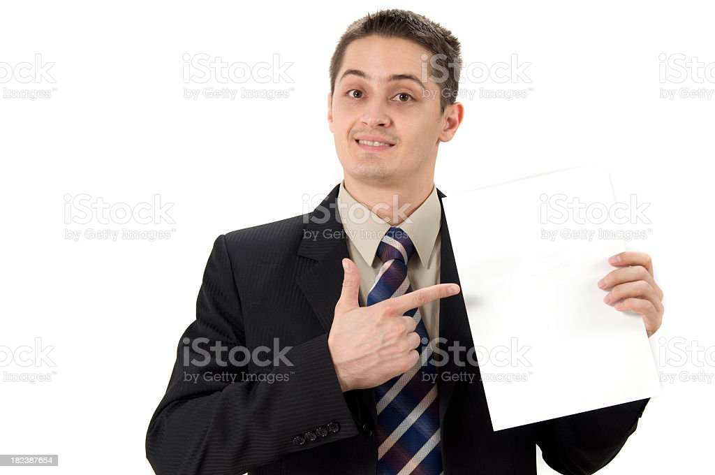 Business man finger pointing on a document royalty-free stock photo