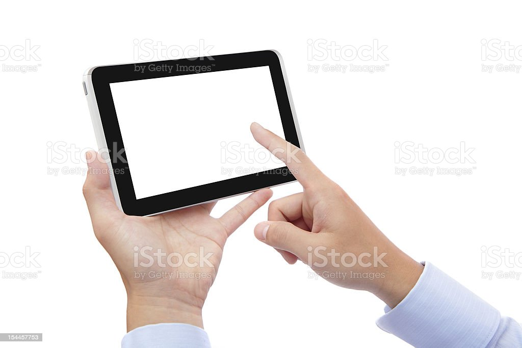 business man finger touch tablet pc royalty-free stock photo