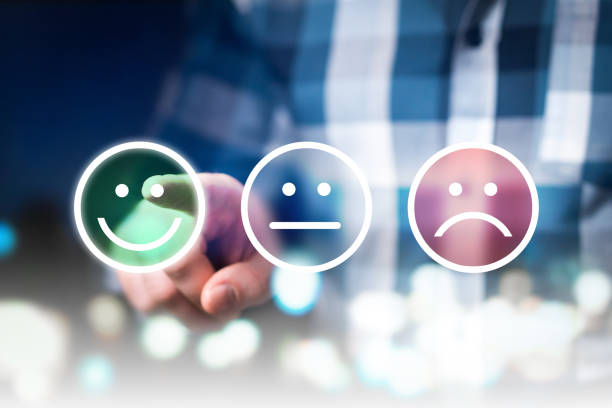 business man giving rating and review with happy, neutral or sad face icons. customer satisfaction and service quality survey. - emotion stock pictures, royalty-free photos & images