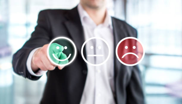 business man giving rating and review with happy smiley face emoticon icon. customer satisfaction and service or product quality survey or poll. - feedback comunicação imagens e fotografias de stock