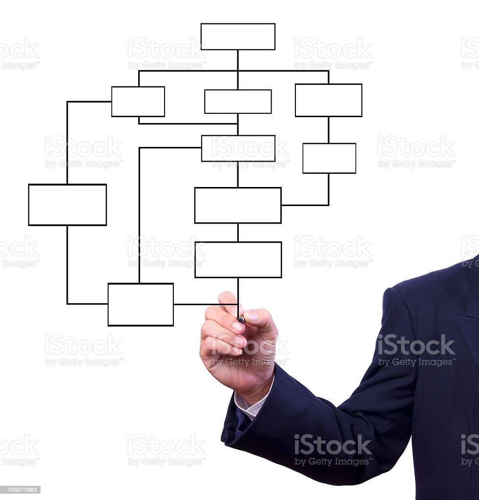 business man hand drawing flow chart isolated royalty-free stock photo