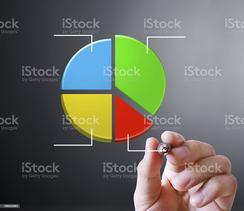 Business man hand drawing  graph royalty-free stock photo