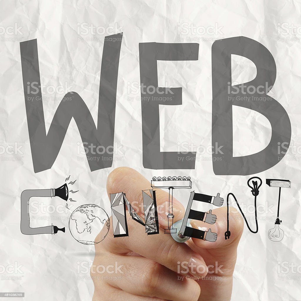 business man hand drawing web content grahic word diagram stock photo