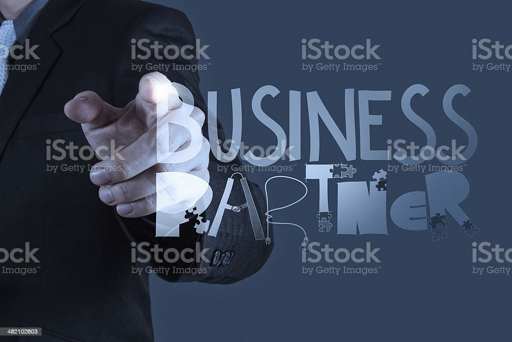 business man hand drawing web content grahic word stock photo