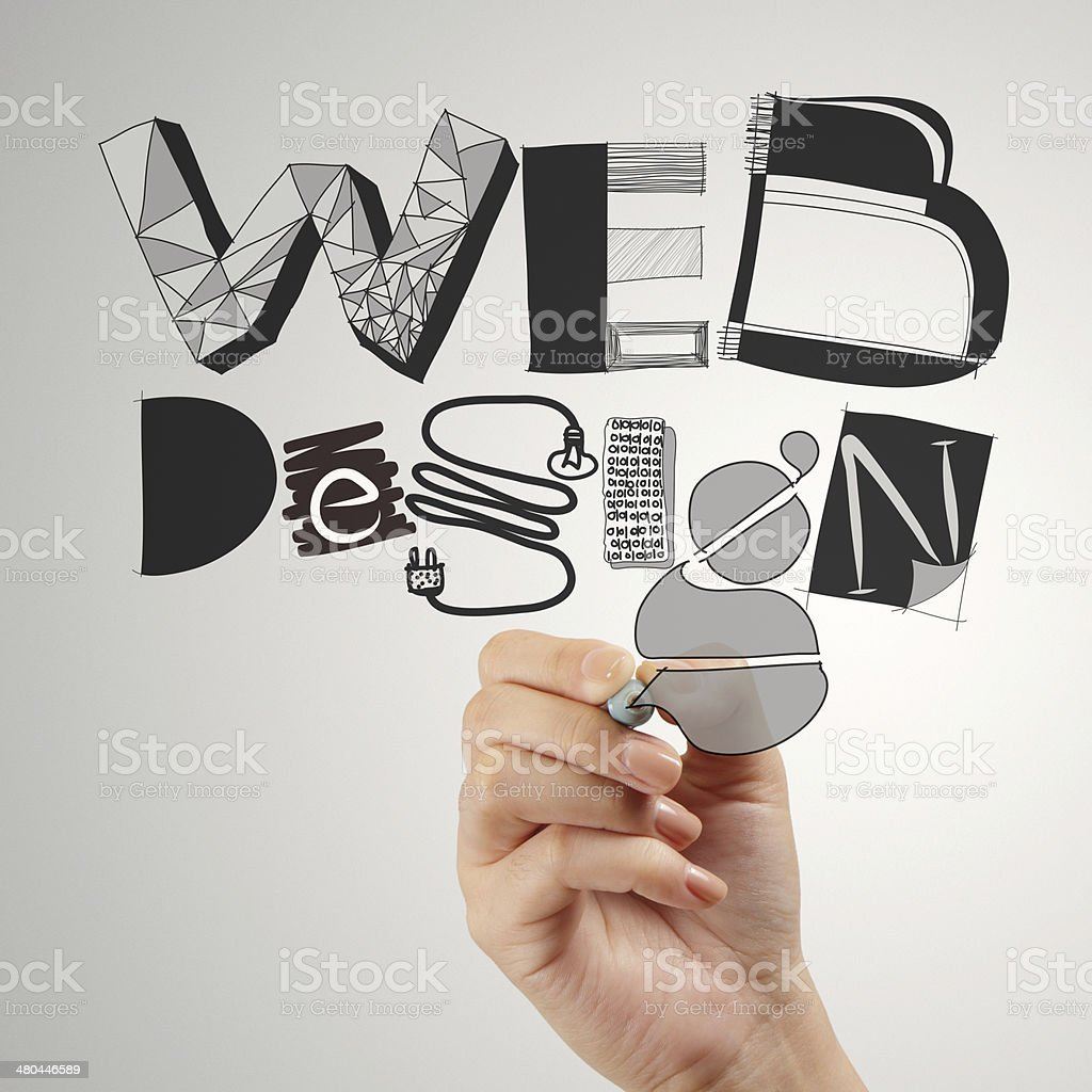 business man hand drawing web design diagram as concept stock photo
