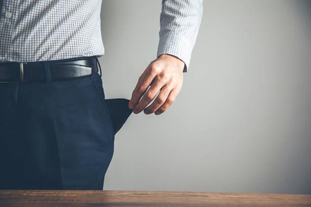 Geschäftsmann Hand leere Tasche – Foto