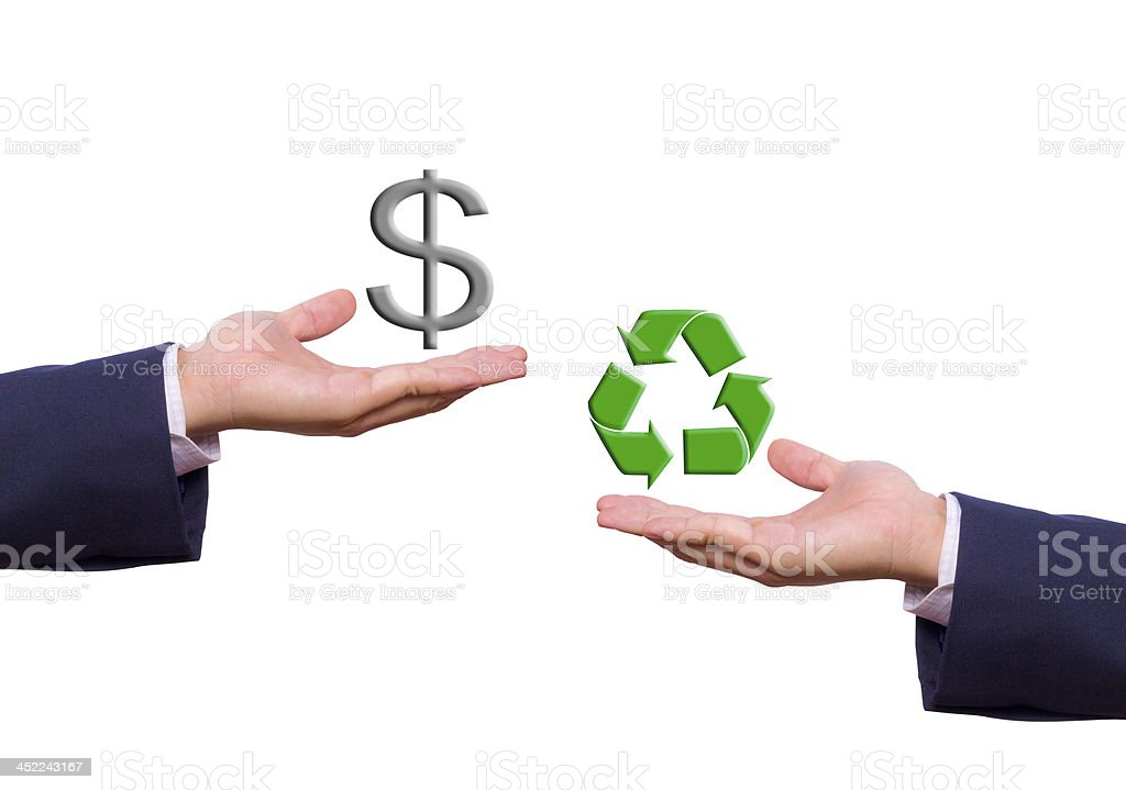 business man hand exchange dollar sign and recycle icon royalty-free stock photo