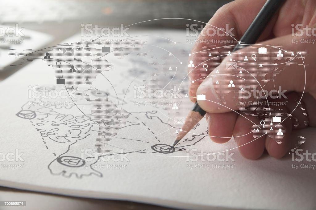Business Mann Hand hält Pensil schreiben und skizzieren Business Netzwerk verbinden – Foto