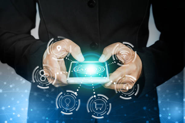 business man hand holding smart phone with icon of technology connection with abstract social network stock photo
