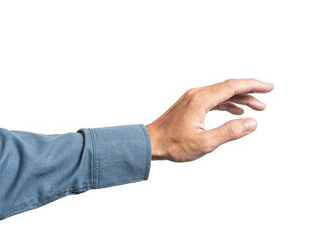 Zakelijke Man Hand Hebt Somethings Voor Montage Uw Product Met Blauw Shirt Van 100 Katoen Stockfoto en meer beelden van Bedrijfsleven
