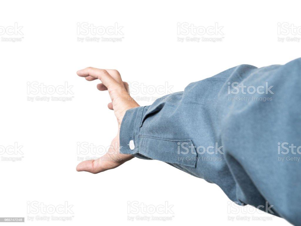 Zakelijke man hand hebt somethings voor montage uw product met blauw shirt van 100% katoen. - Royalty-free Bedrijfsleven Stockfoto