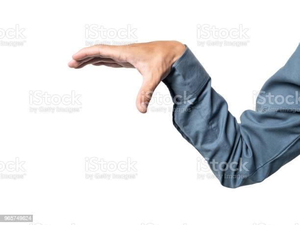 Business Man Hand Holding Somethings For Montage Your Product With Blue 100 Cotton Shirt - Fotografias de stock e mais imagens de Aberto