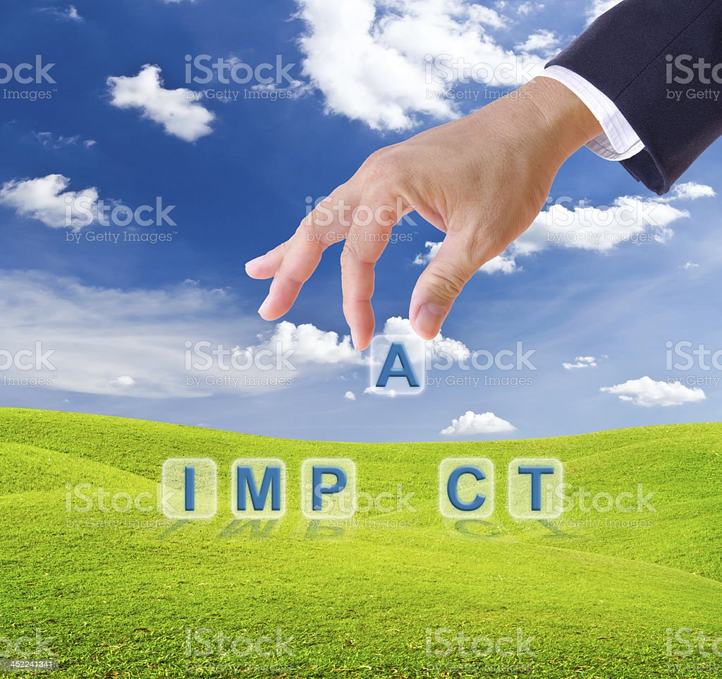 business man hand made impact word buttons royalty-free stock photo