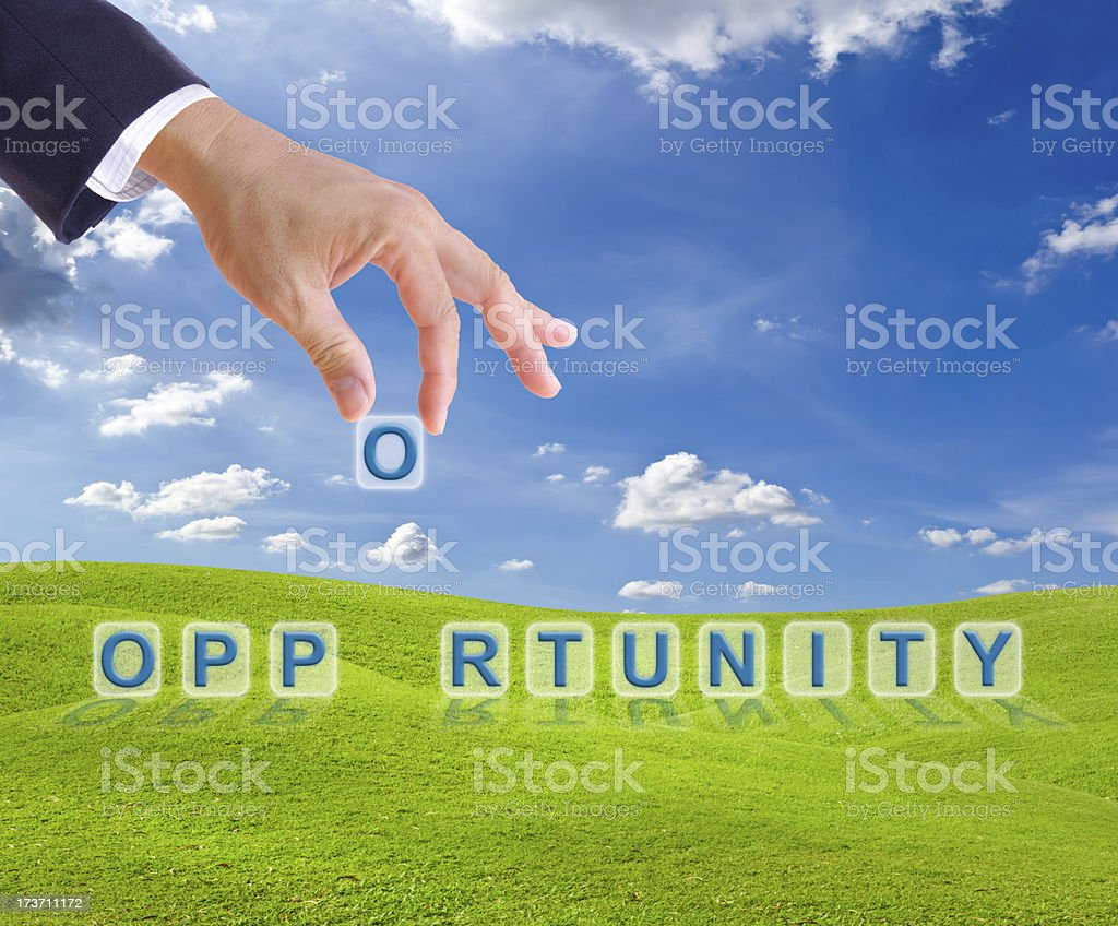 business man hand made opportunity word buttons royalty-free stock photo
