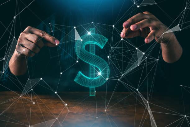 Business Man Hand zeigen, was uns Dollar virtuell Zeichen dunklen Schwarzground Kreativität Ideen Konzept – Foto