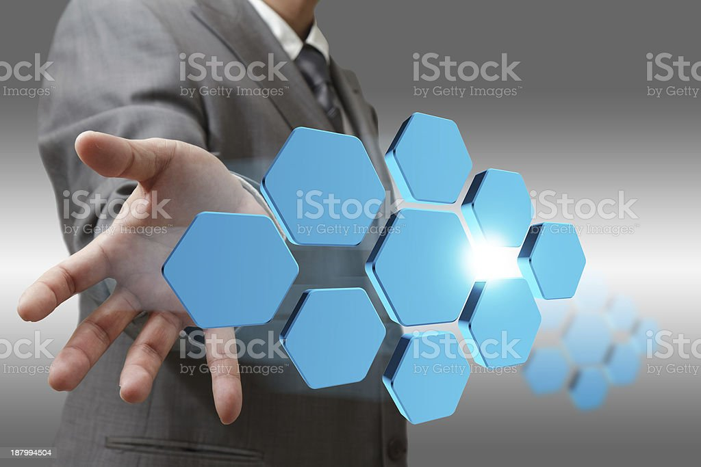 business man hand shows blank abstract diagram royalty-free stock photo