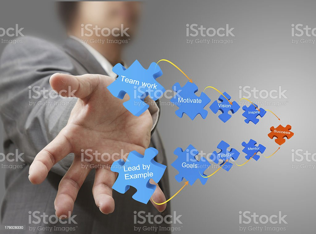 business man hand shows puzzles of success royalty-free stock photo