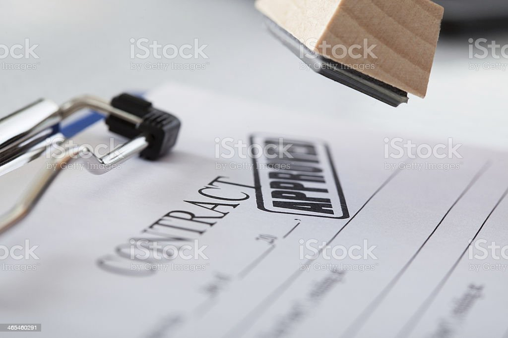 Business Man Hand With Rubber Stamp royalty-free stock photo