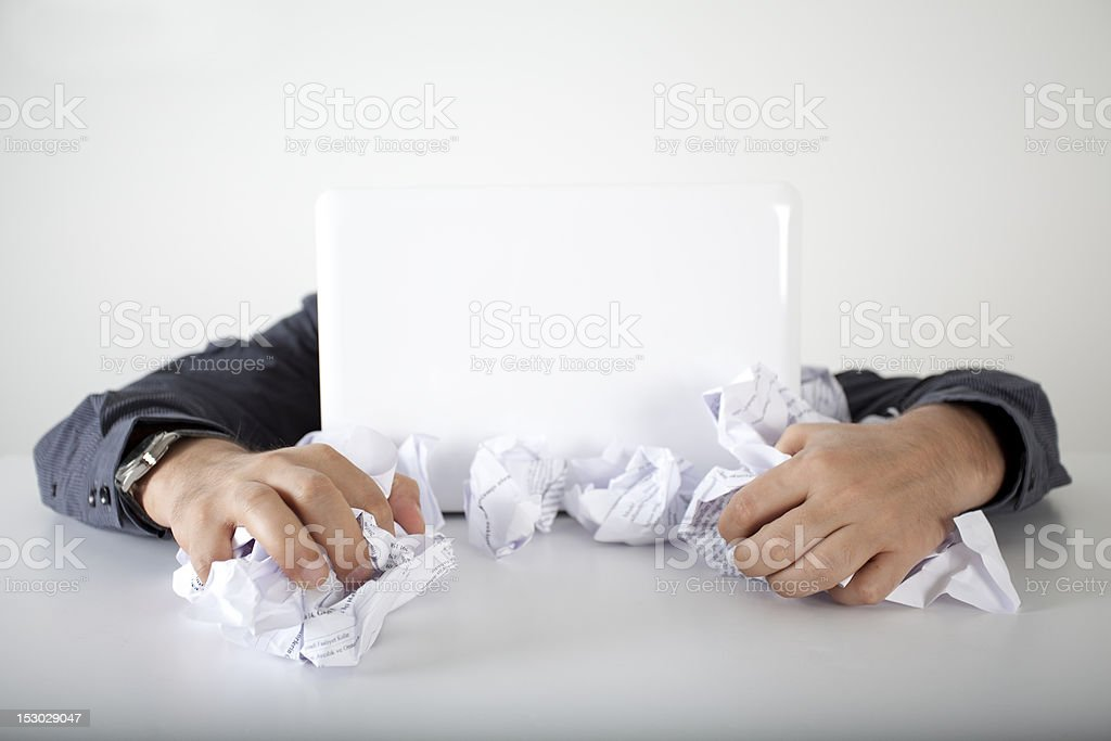 Business man hard working in the papers royalty-free stock photo