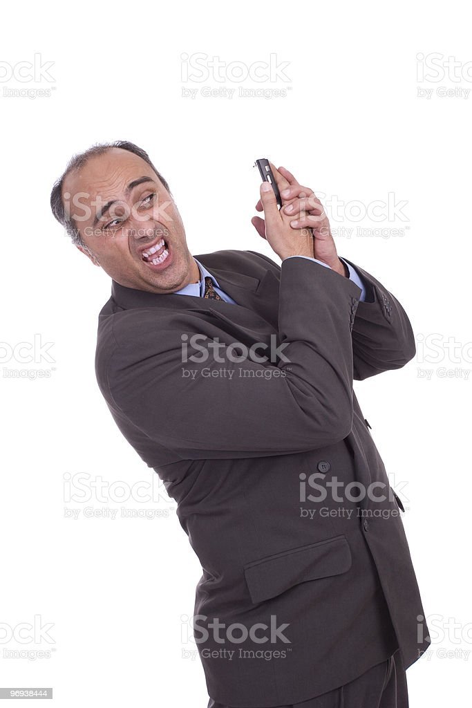 Business man having discussion on cellphone royalty-free stock photo