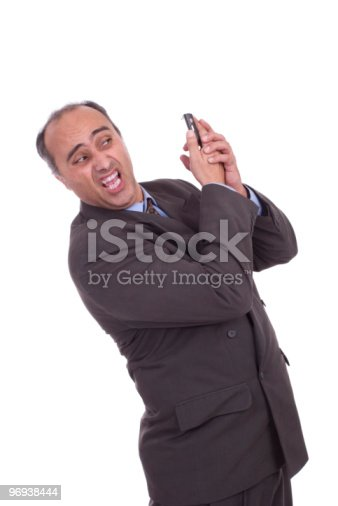 Business Man Having Discussion On Cellphone Stock Photo & More Pictures of Adult