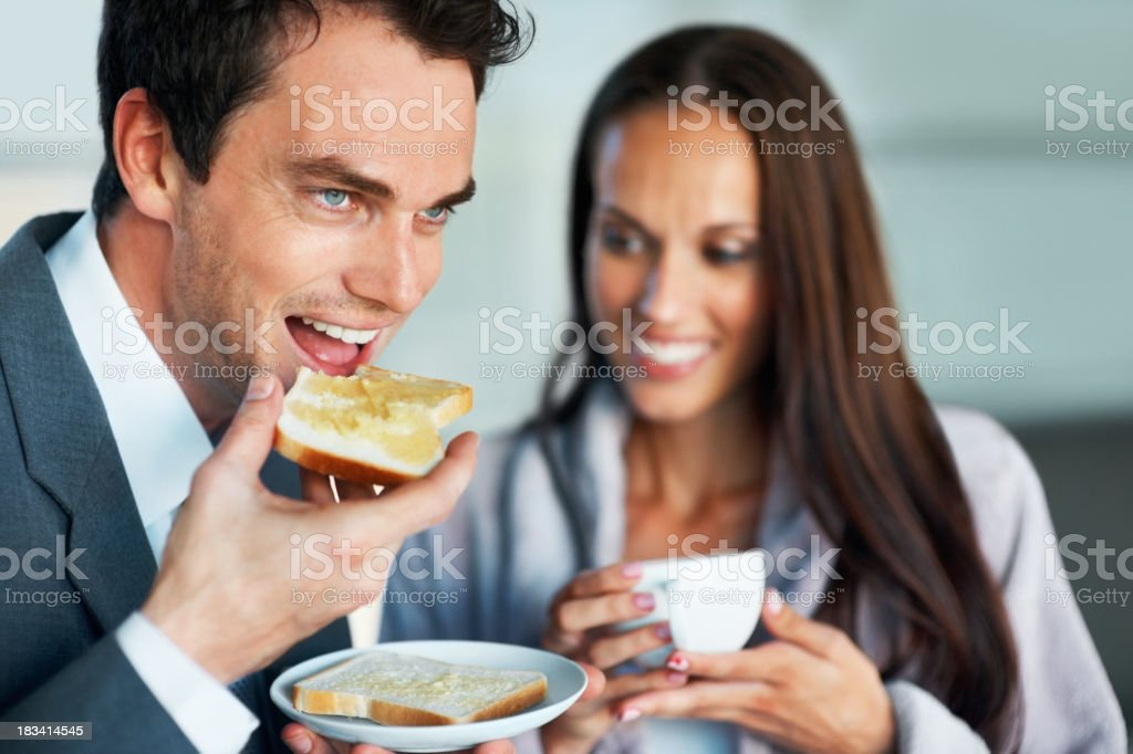 Business man having healthy breakfast royalty-free stock photo