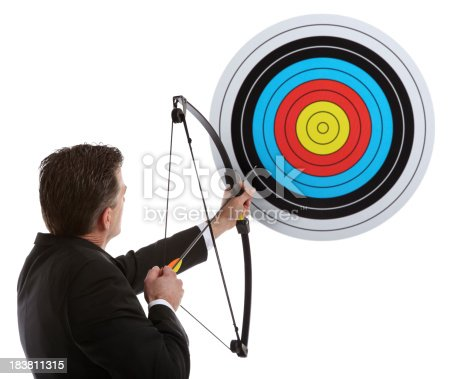 istock Business Man Hitting the Target 183811315
