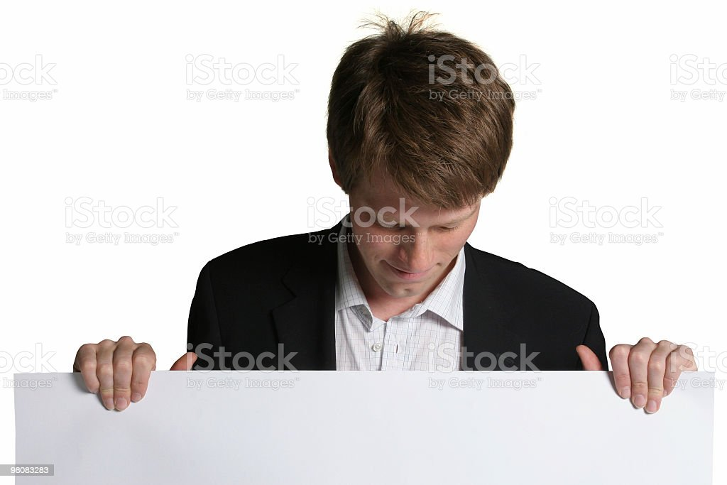 Business man hold blank sign royalty-free stock photo
