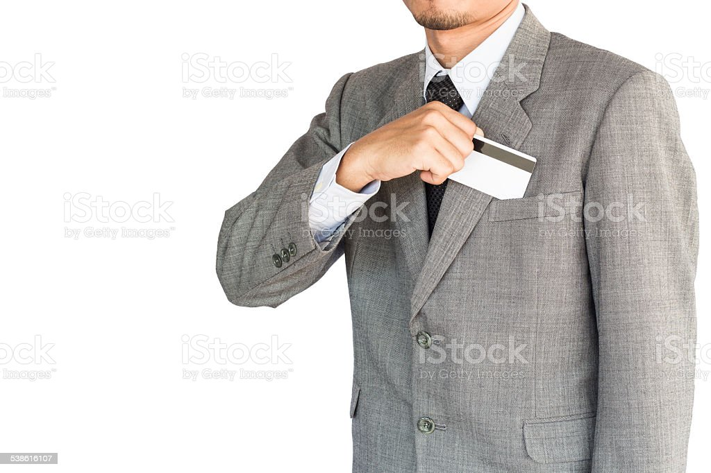 business man hold credit card isolated white background stock photo