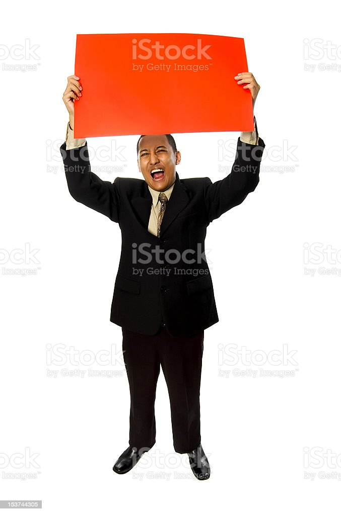 Business Man Hold Red Blank Card royalty-free stock photo