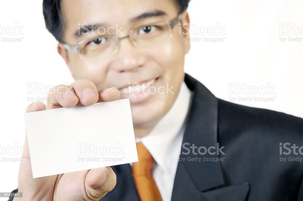 Business Man Holding A Blank Busines Card royalty-free stock photo