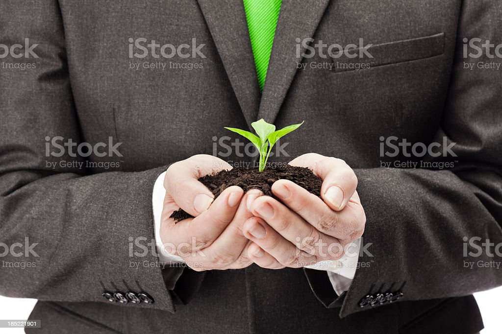 A business man holding a new plant royalty-free stock photo