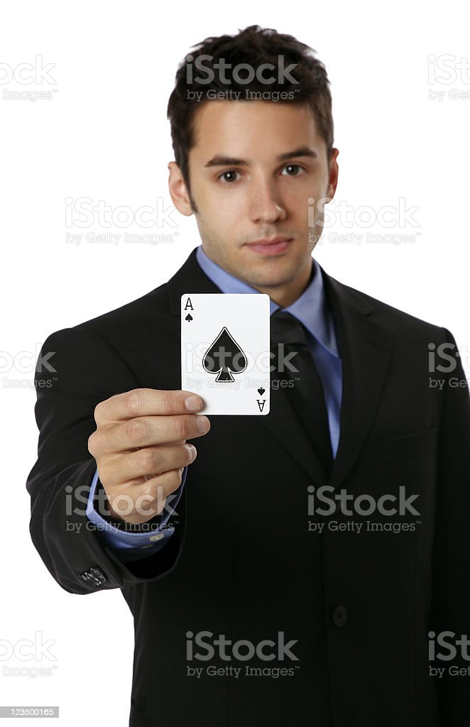 Business Man Holding an Ace of Spades Card royalty-free stock photo
