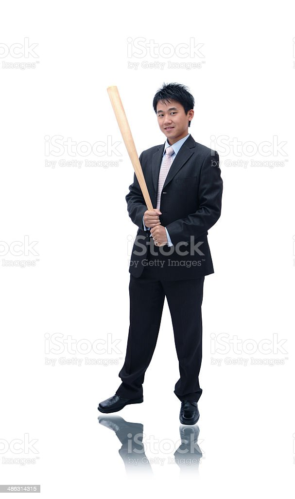 Business man holding baseball bat royalty-free stock photo