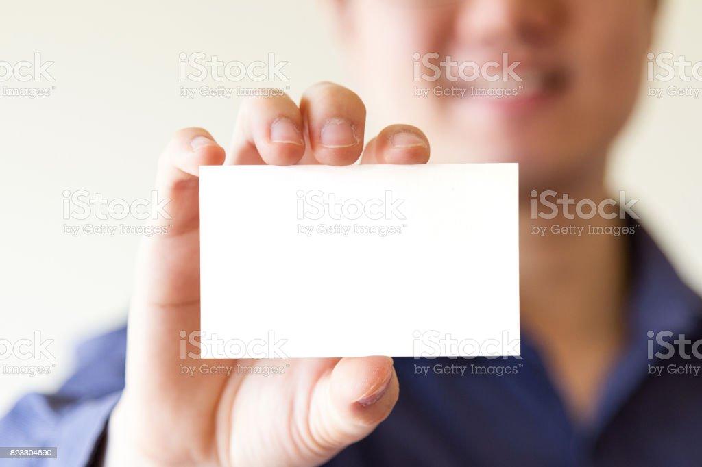 Business-Mann mit Namen Visitenkarte – Foto