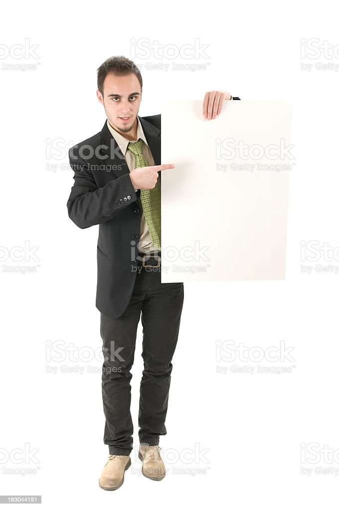 Business man holding empty board, isolated on white royalty-free stock photo