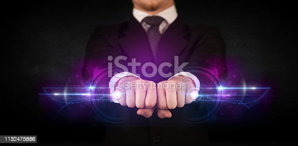 istock Business man holding future technology data system network 1132475886