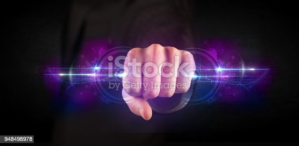 istock Business man holding future technology data system network 948498978