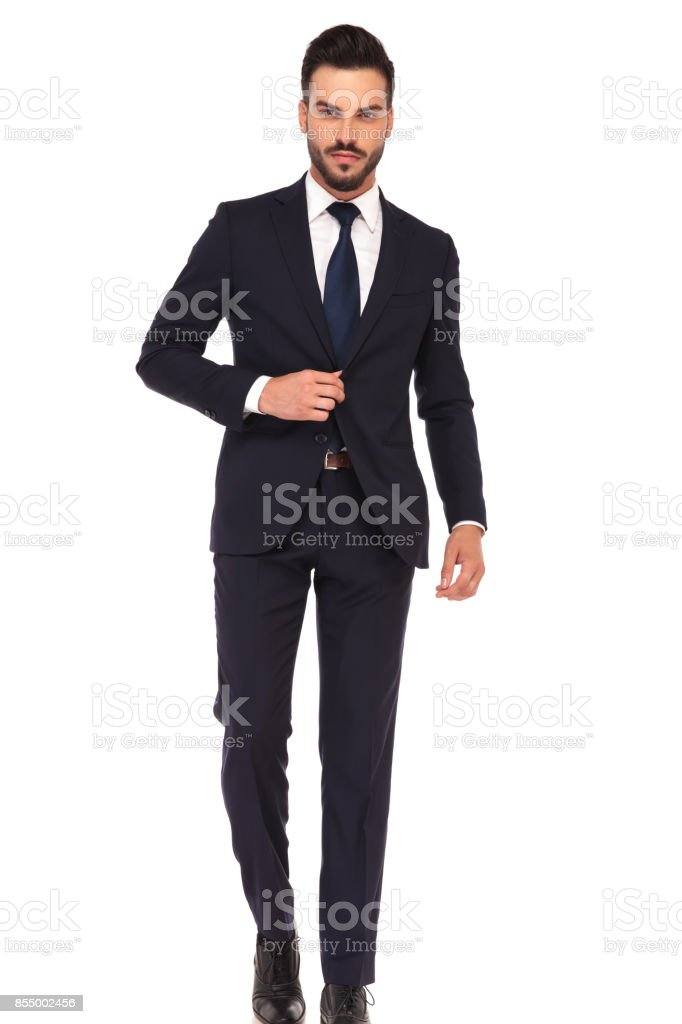 Technology Management Image: Business Man Holding Hand On Suits Button Is Stepping