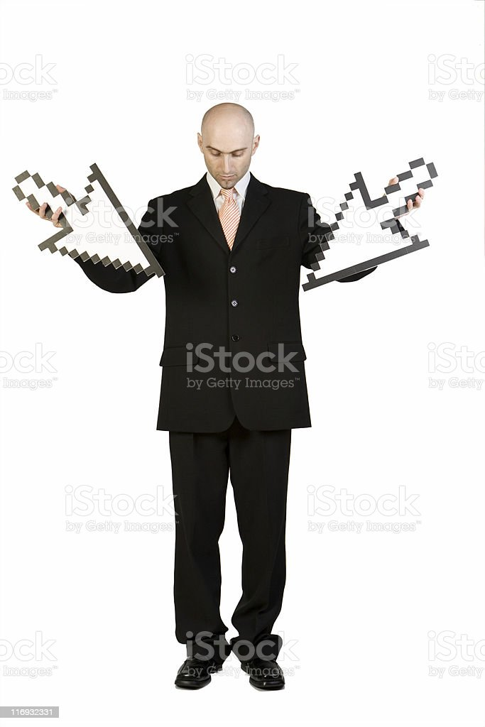 Business Man Holding Pointers royalty-free stock photo