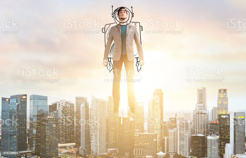Business man hover over city skyline 免版稅 stock photo