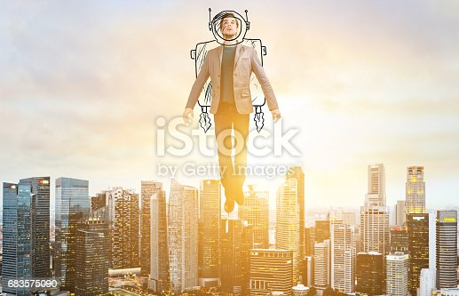 istock Business man hover over city skyline 683575090