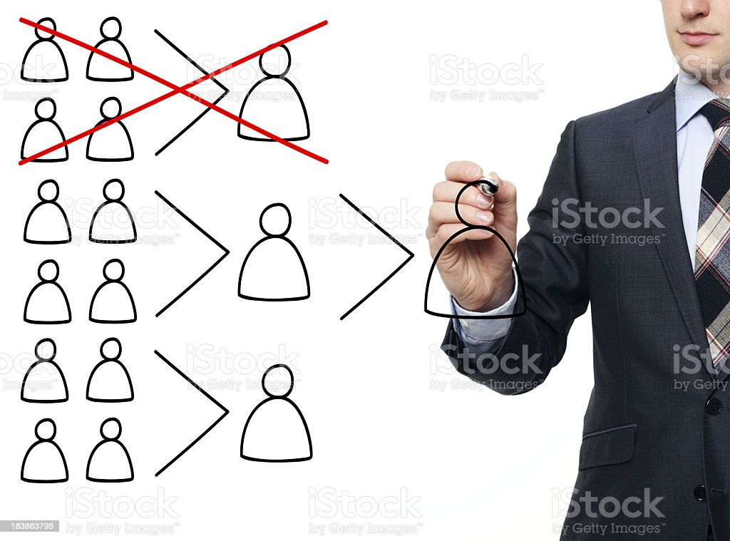 Business man illustrating the termination of a department stock photo