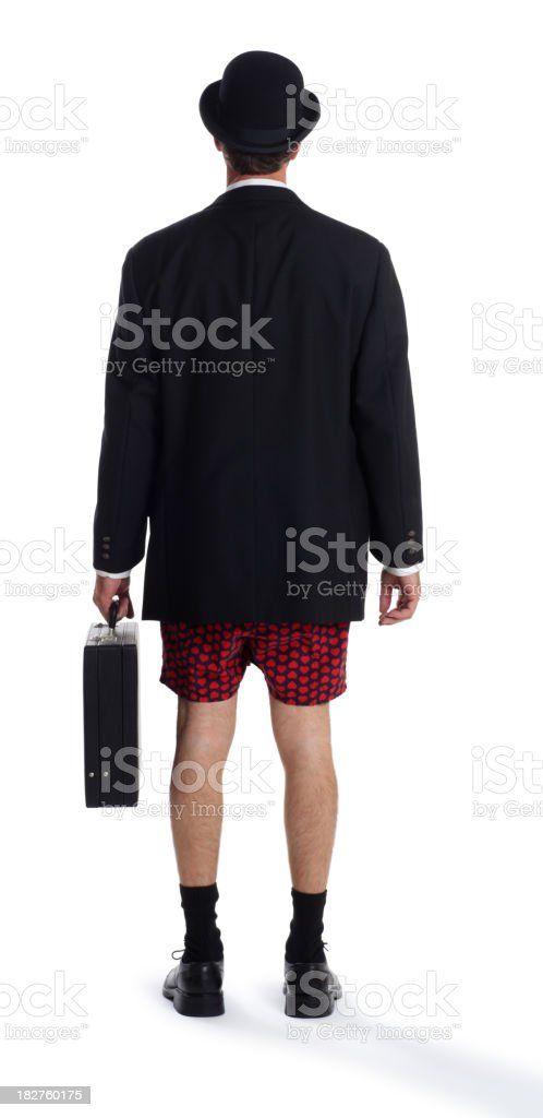 Business Man in Boxer Shorts on White royalty-free stock photo